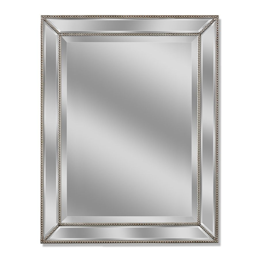 Allen roth 30 in x 40 in silver beveled rectangle framed for Small silver mirror