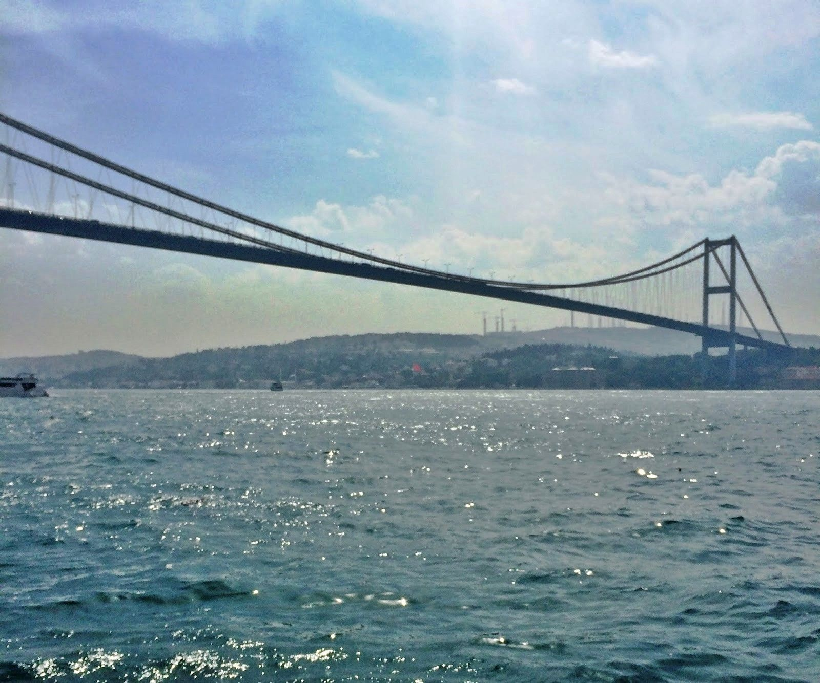 The Bosphorus Bridge, the first bridge, one of the three bridges that connects Europe and Asian, it was once the 4th longest bridge in the world.