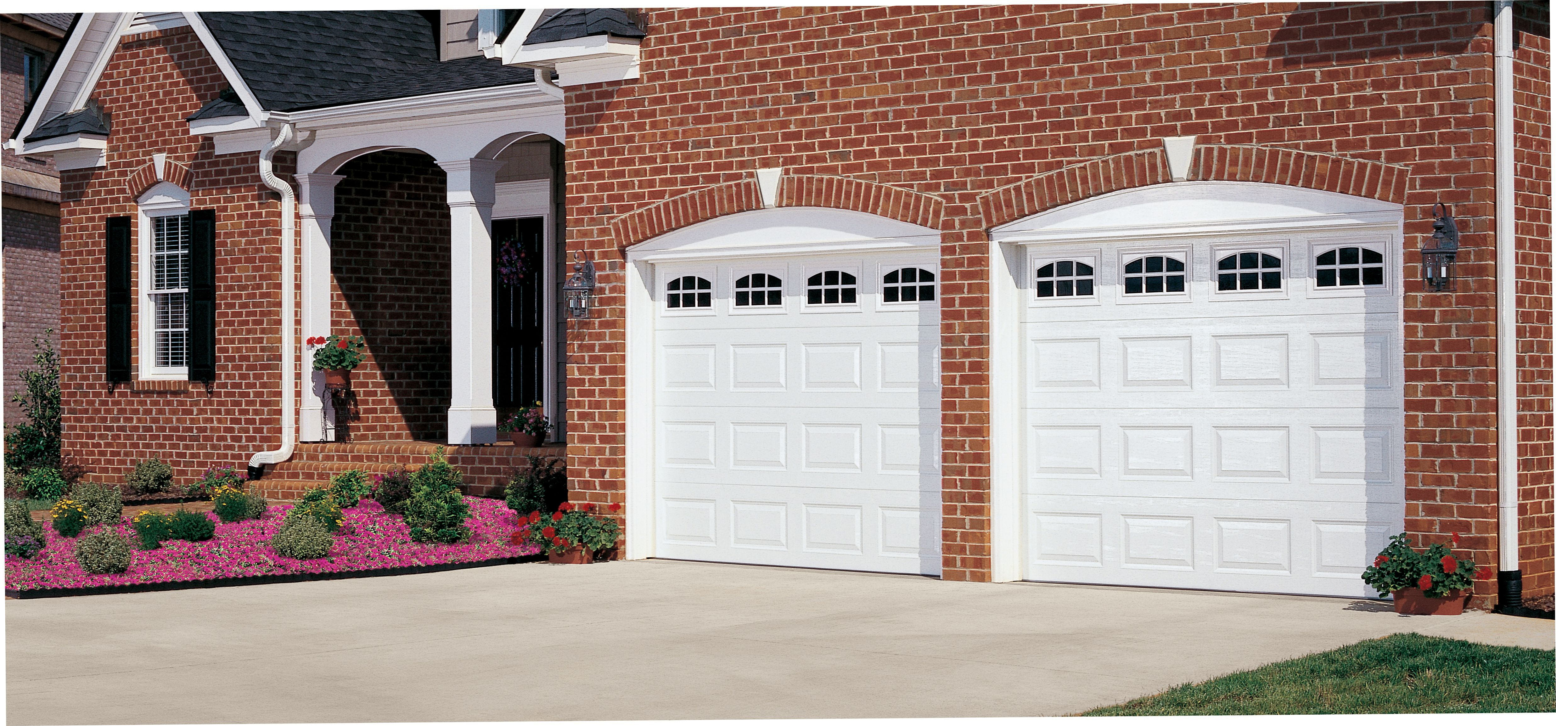 Garage door panels with windows - Amarr Short Panel Garage Door In True White With Cascade Windows Available In Olympus