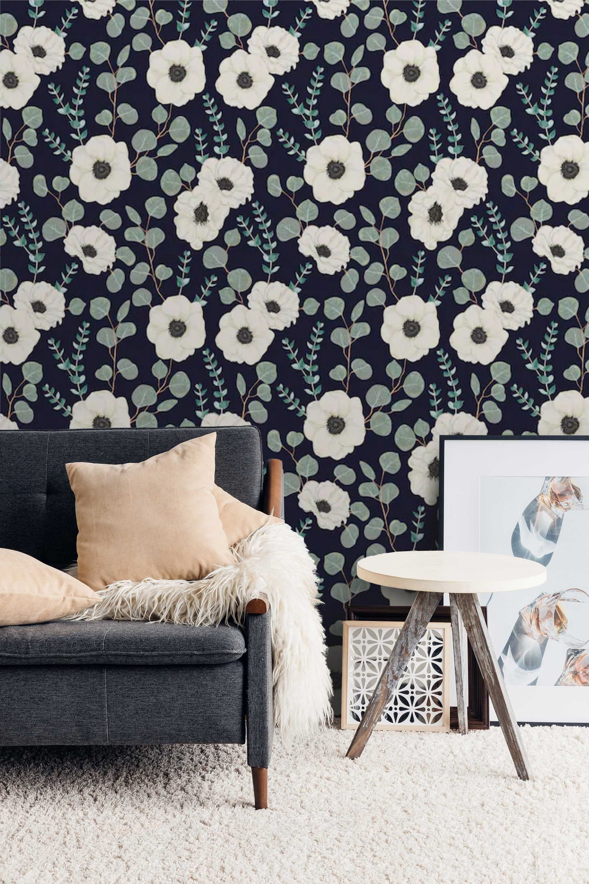 Floral Accent Wall Removable Dark Floral Wallpaper Mural Peel And Stick Wallpaper Anemone White Flowers Self Floral Wallpaper Mural Wallpaper Custom Wallpaper