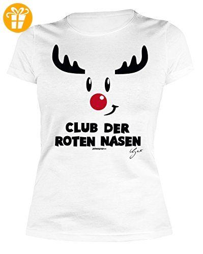Winter/Weihnachts/Comic/Spaßshirt Damen/Girlie: Club der roten Nasen Rentiermotiv - geniales Geschenk (*Partner-Link)