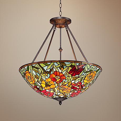 "Rosa 25"" Wide Bronze Tiffany Style Glass Pendant"