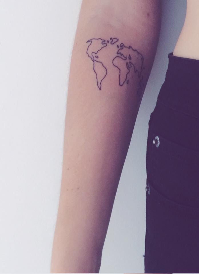Placement but the tattoo itself looks cheap and bad tattoos world map tattoo gumiabroncs Choice Image