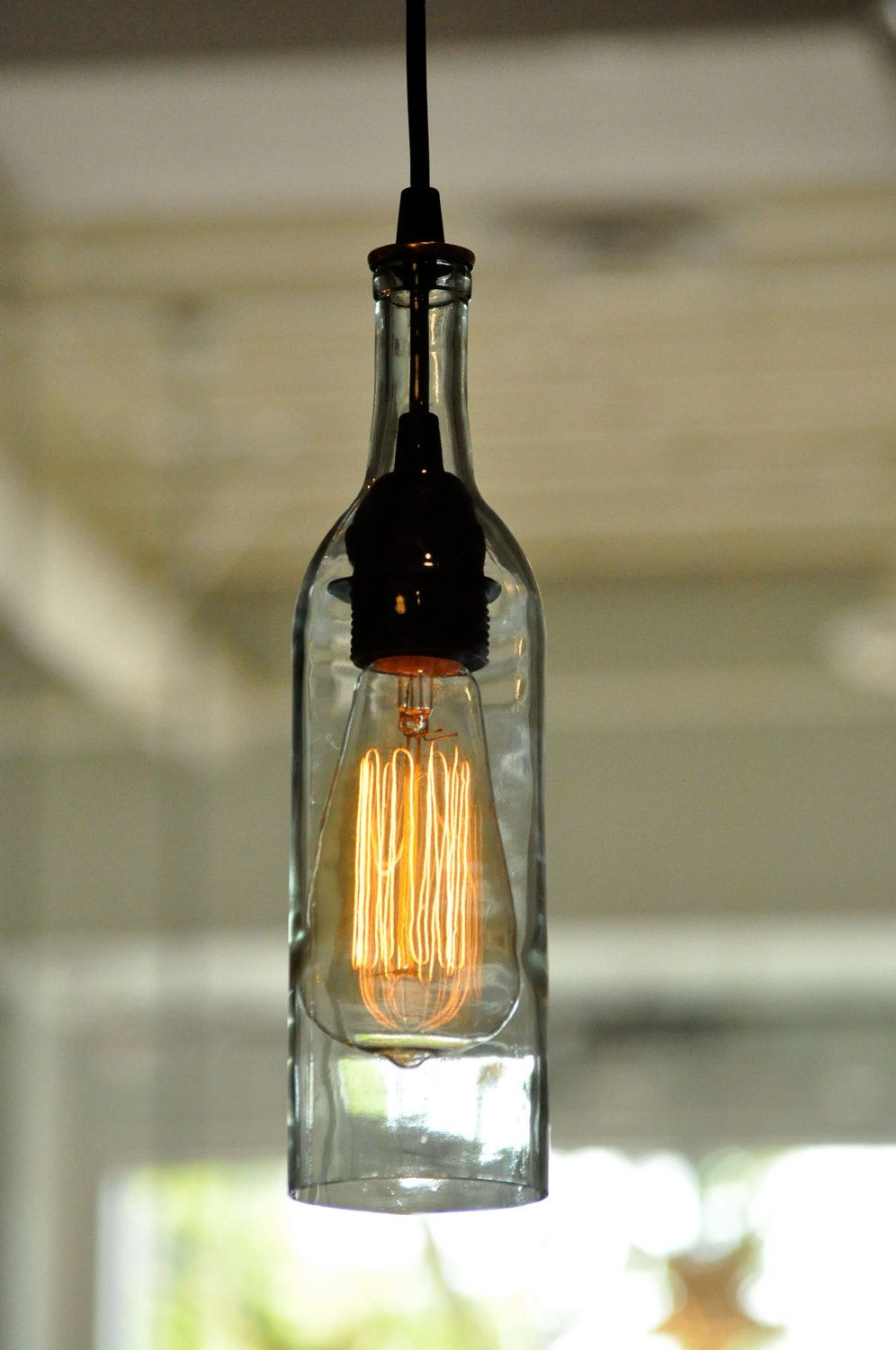 Wine bottle lamps google search mason jars bottles and hanging wine bottle lights for unique and creative decoration single lighting feature made from transparent bottle lights aloadofball Image collections