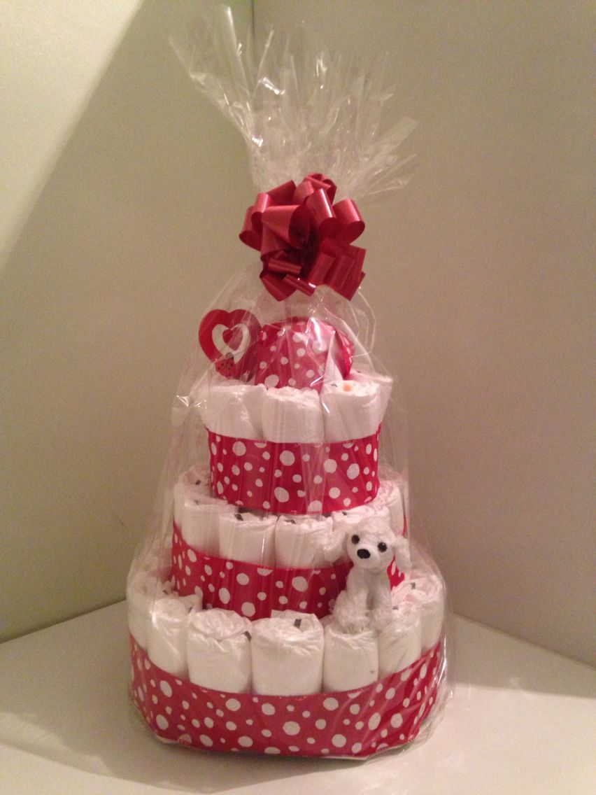 3 tier baby nappy cake available in all colours at request, includes ...