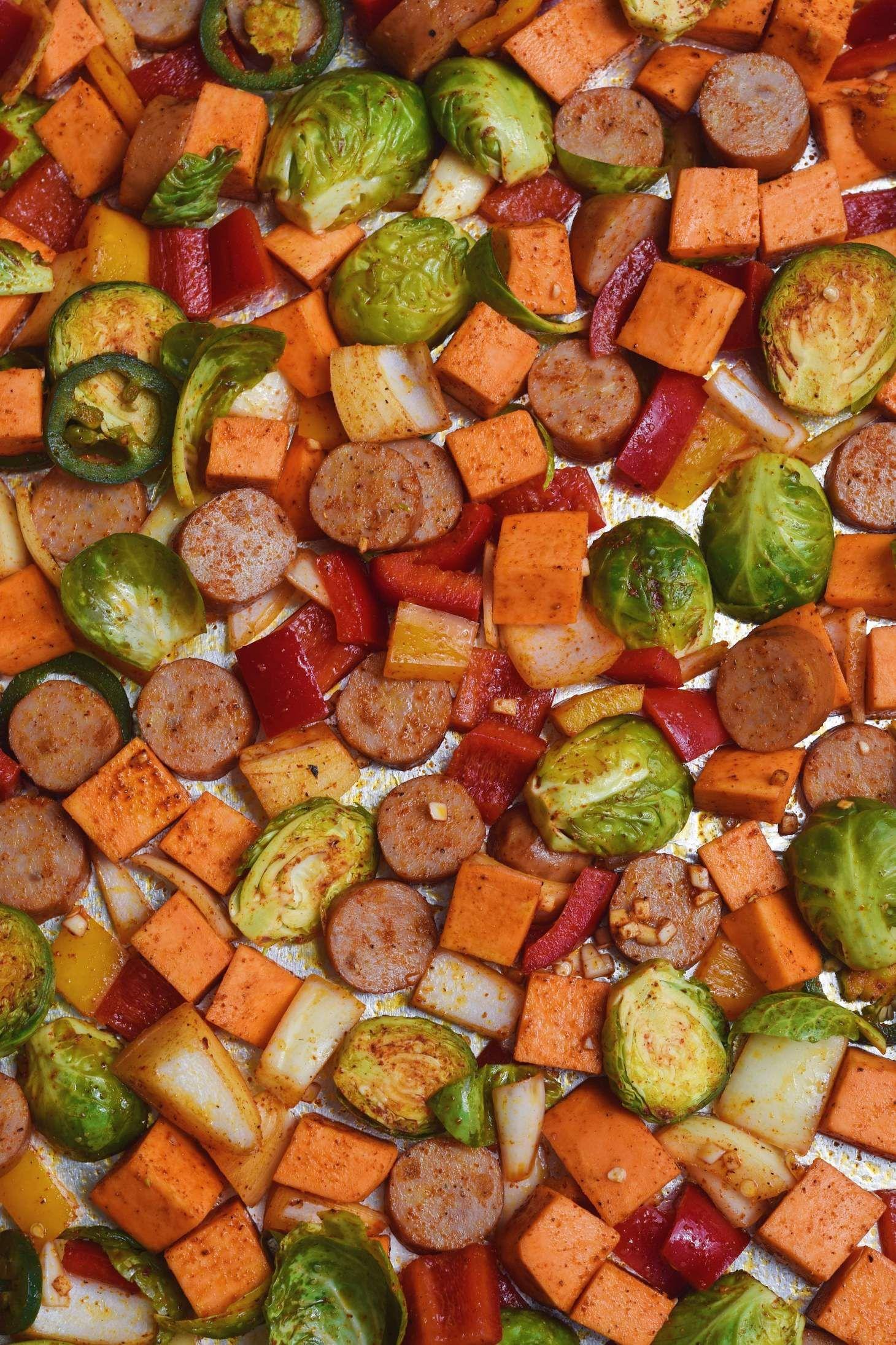 Chicken sausage and sweet potato sheet pan bake recipe