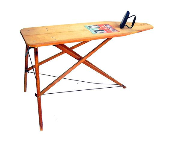 Antique Wooden Ironing Board 1920s Rid Jid by OceansideCastle - Antique Wooden Ironing Board 1920s Rid Jid Label Industrial Wood