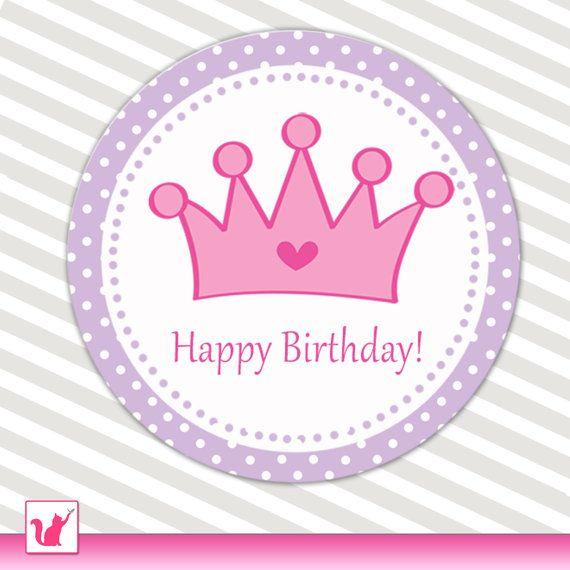Printable Purple Violet Pink Princess Crown Happy Birthday