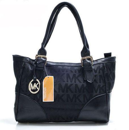 1ddf7c57f5a6  80 Michael Kors Medium MK Logo Print Shoulder Bag Black   Michael Kors  Outlet Online