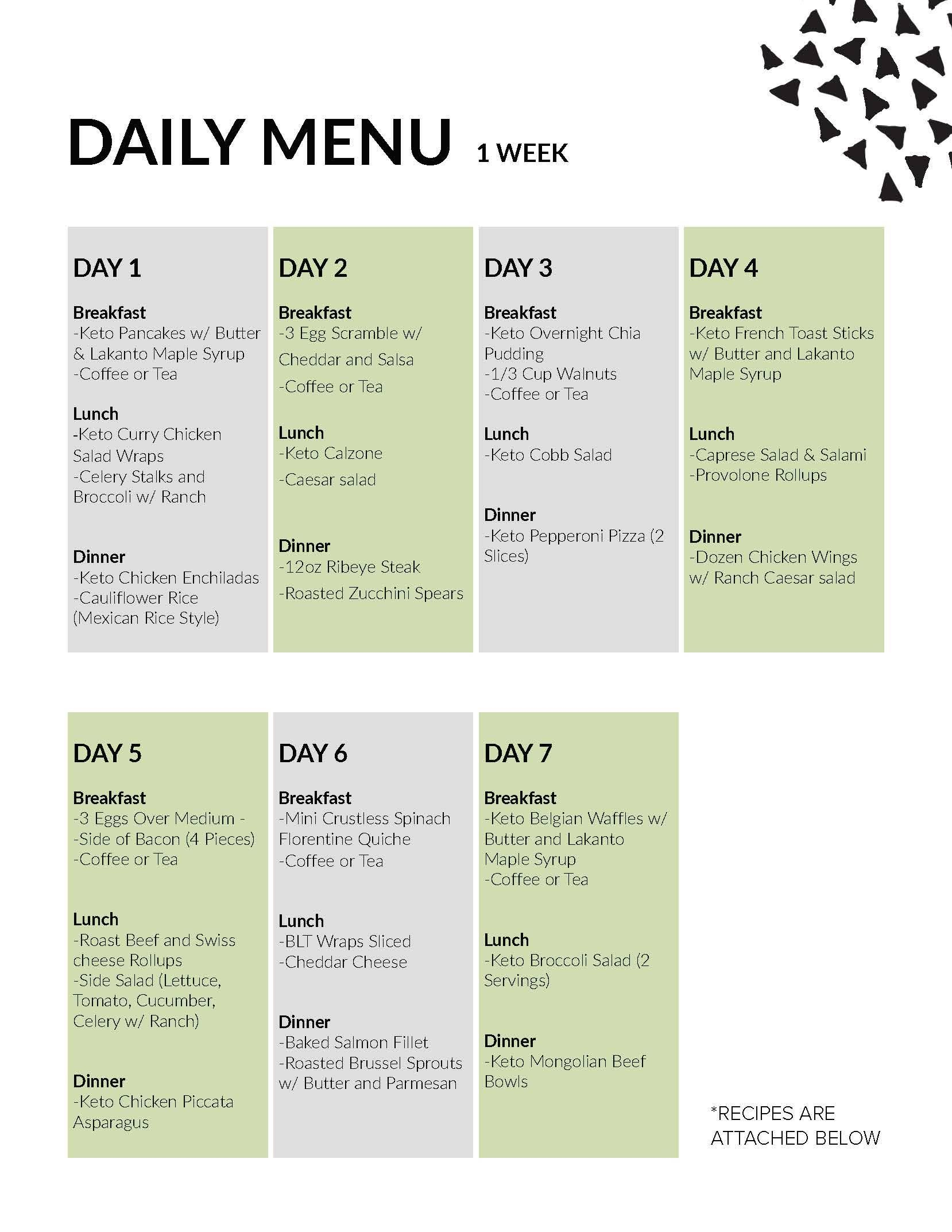 7 Day Meal Plan Lakanto 7 Day Meal Plan Meal Planning French Diet