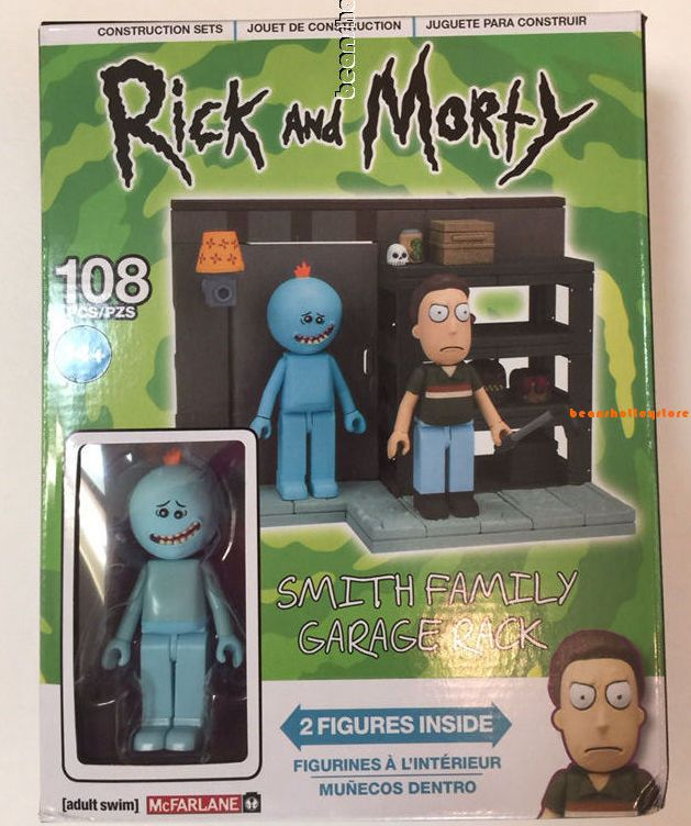 2 FIGURES RICK AND MORTY SMITH FAMILY GARAGE RACK 108 PC CONSTRUCTION SET