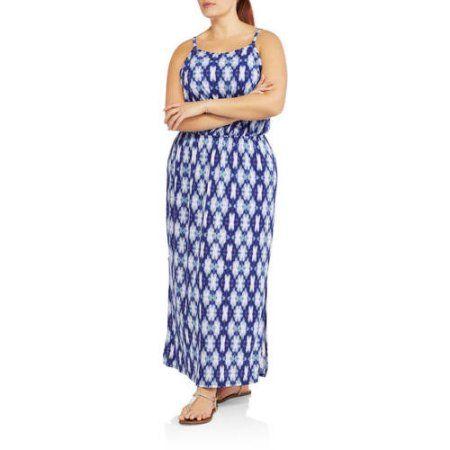 Faded Glory Women s Plus Hi Neck Maxi Dress Walmart