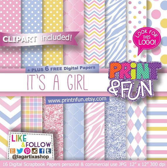 It's a Girl, Girly Baby Shower Digital Paper, Pastel Pink, Purple, Yellow, Blue Patterns, Background for baby shower invitations scrapbook