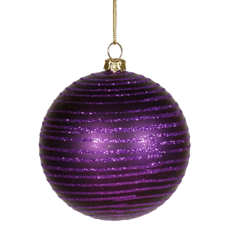 Purple Passion Glitter Striped Shatterproof Christmas Ball Ornament 3