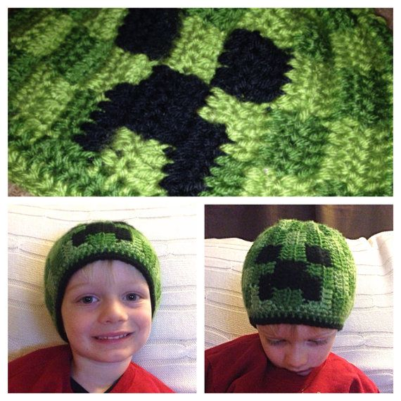 Minecraft Creeper Crochet Youth Hat PATTERN | Crochet | Pinterest ...