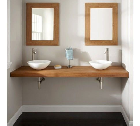 Plan en teck massif 180 cm pour double vasques - Shark Salle de - Meuble Vasque A Poser Salle De Bain
