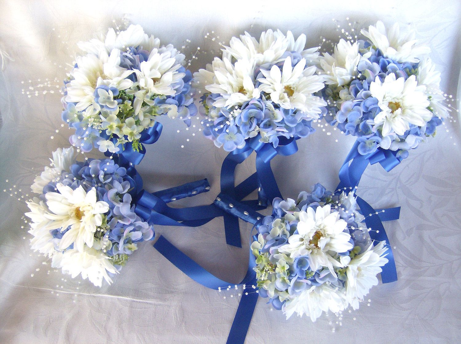 white gerbera and blue hydrangea wedding bouquet set hydrangea bridal bouquet hydrangea. Black Bedroom Furniture Sets. Home Design Ideas