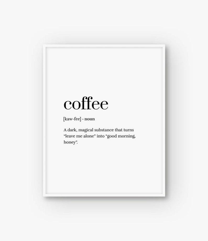 calories noun definition wall Print wording Picture Quote kitchen black white