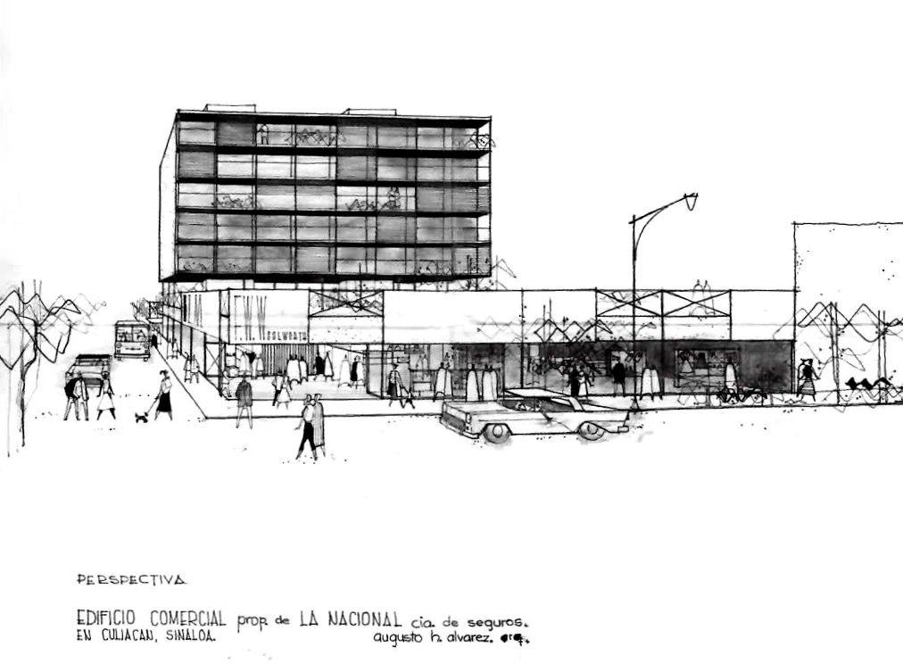 Perspectiva, Edificio de departamentos y comerciales para