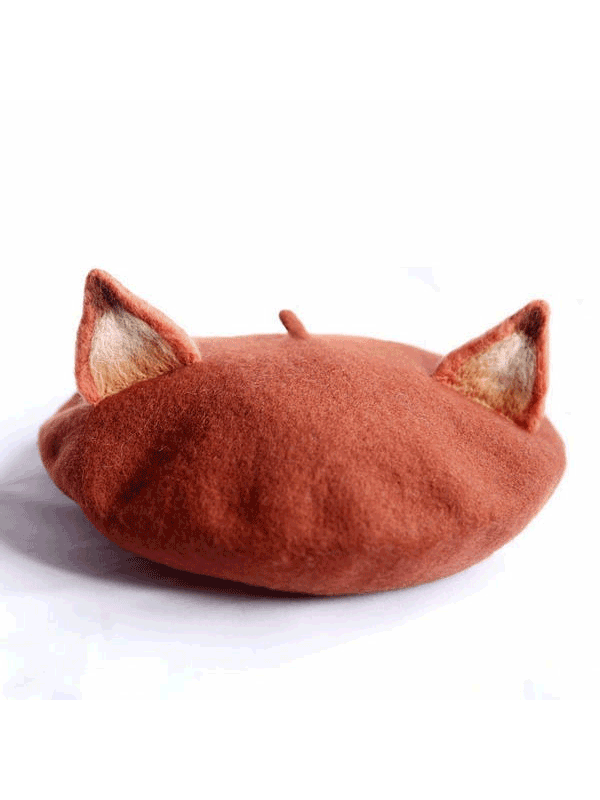 f3e17bba3835e 2019 的 Light Brown Little Fox Beret Hat