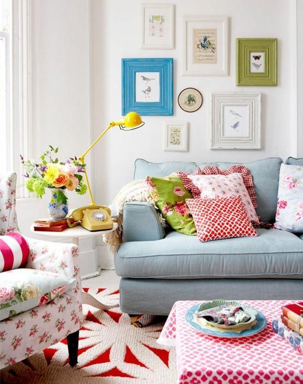 Wohnzimmer-einrichten bunt Wanddeko Shabby Chic   Wohnzimmer ...
