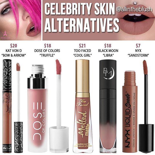 Dupes for Jeffree Star's Celebrity Skin lipstick @allintheblush