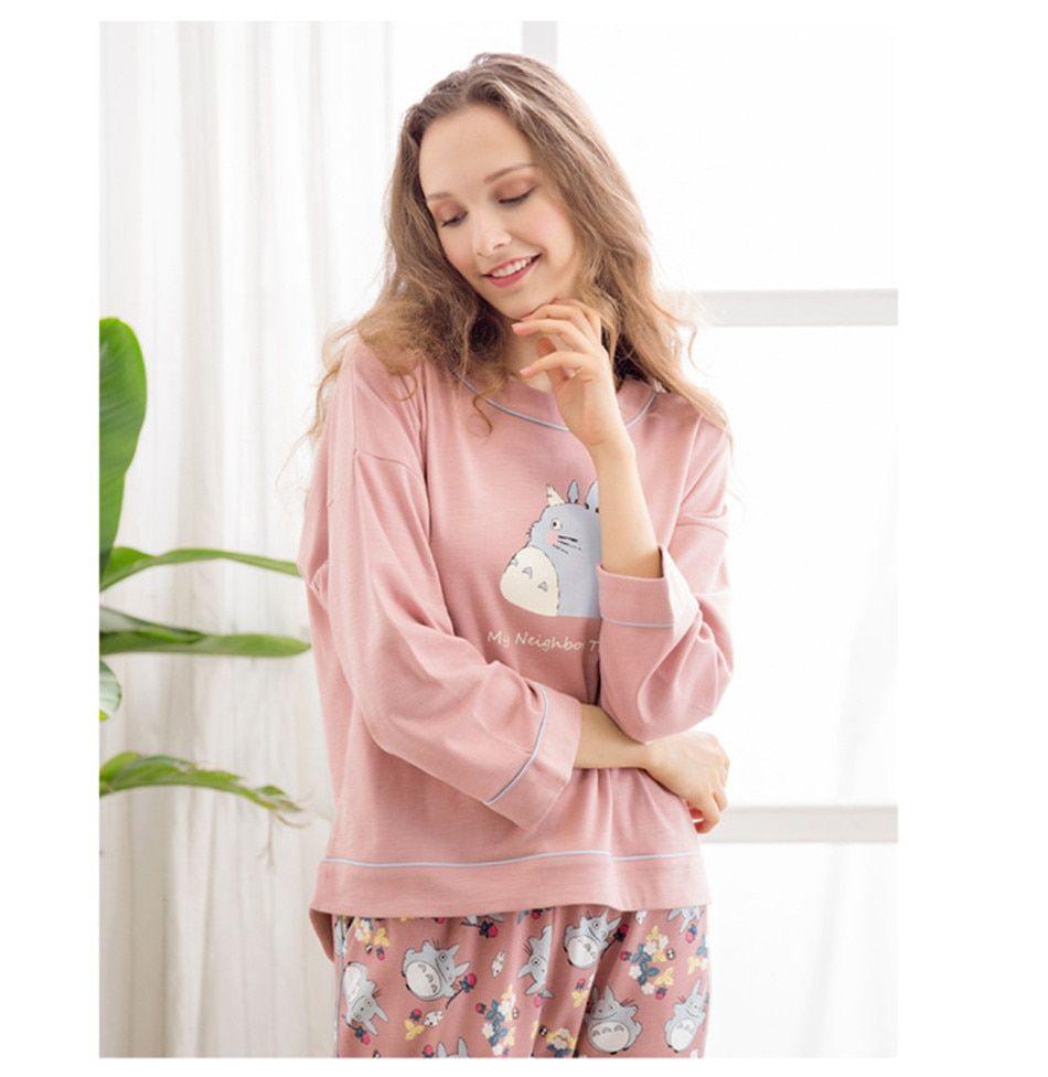 Les femmes à manches longues Pyjamas Set Cartoon sleepwear Tops /& Pantalon NIGHTWEAR SET Mignon