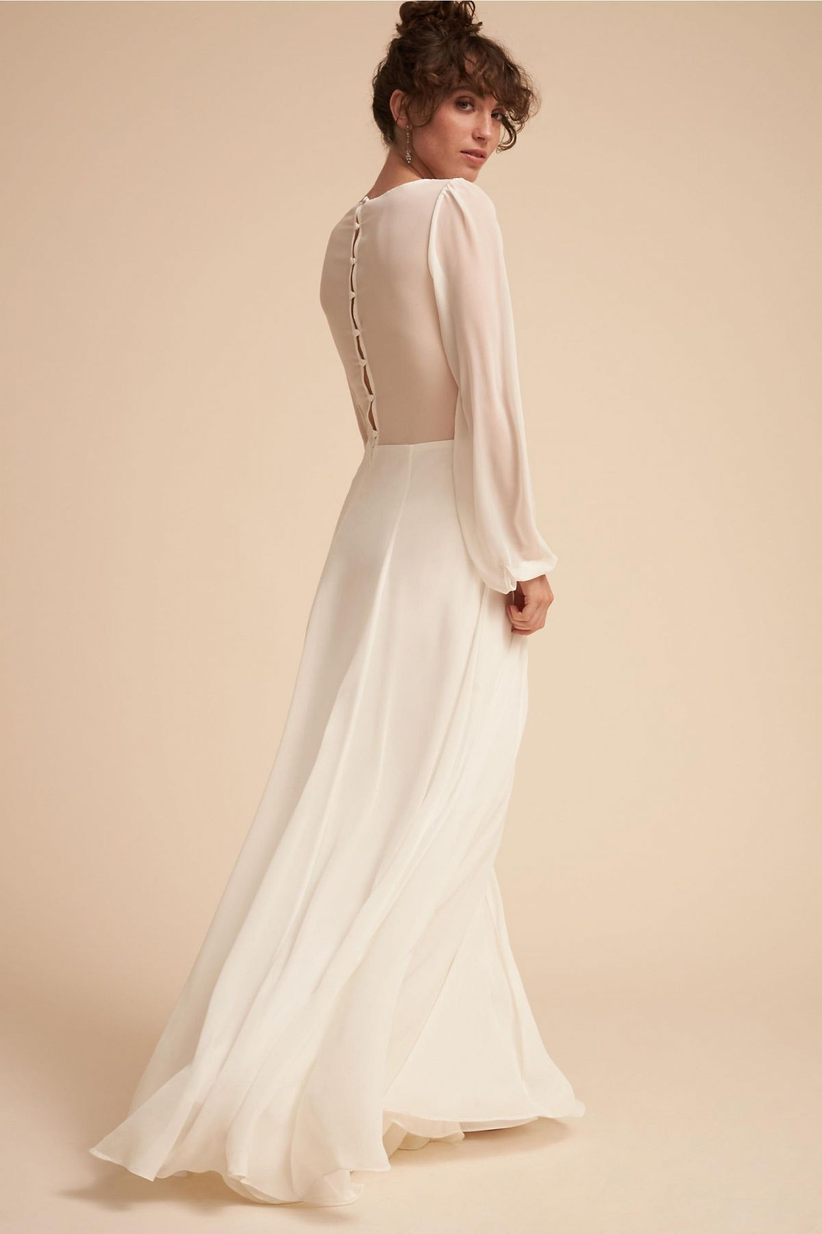 Romantic Wedding Dress With Billowing Cuffed Sleeves On A Plunging Surplice Bodice Cov Long Sleeve Bridal Gown Casual Wedding Dress Affordable Wedding Dresses [ 1802 x 1200 Pixel ]