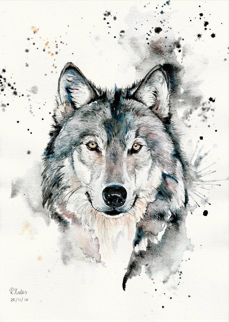 A5 A4 A3 Aquarelle Et Stylo Wolf Original Art Print Edition