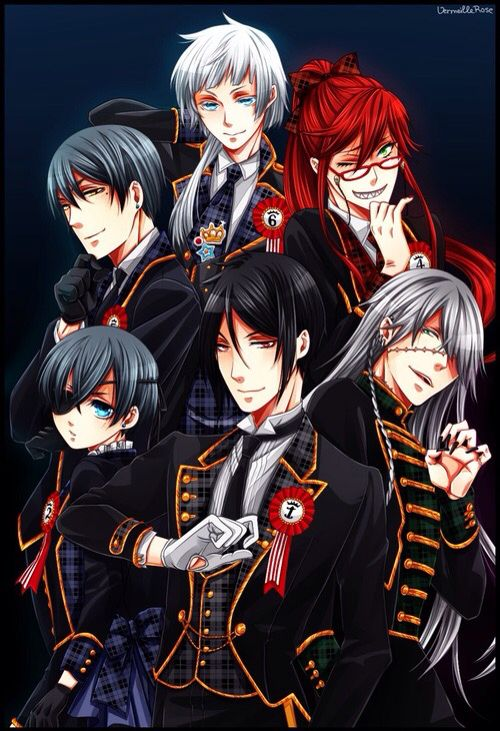 Ciel And Vincent Phantomhive Sebastian Michaelis Undertaker Grell Sutcliffe Charles Grey