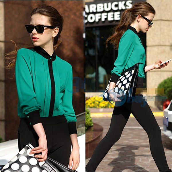 blusas femininas casual long sleeve tops fold collision color ...