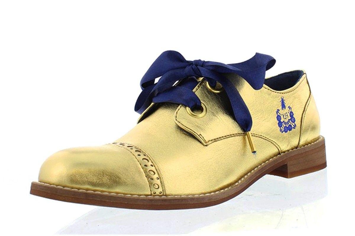 37233e280c3 Fly London Cristina Rodrigues Dwell 03 Gold Leather Lace Up Oxford Brogue  Shoes