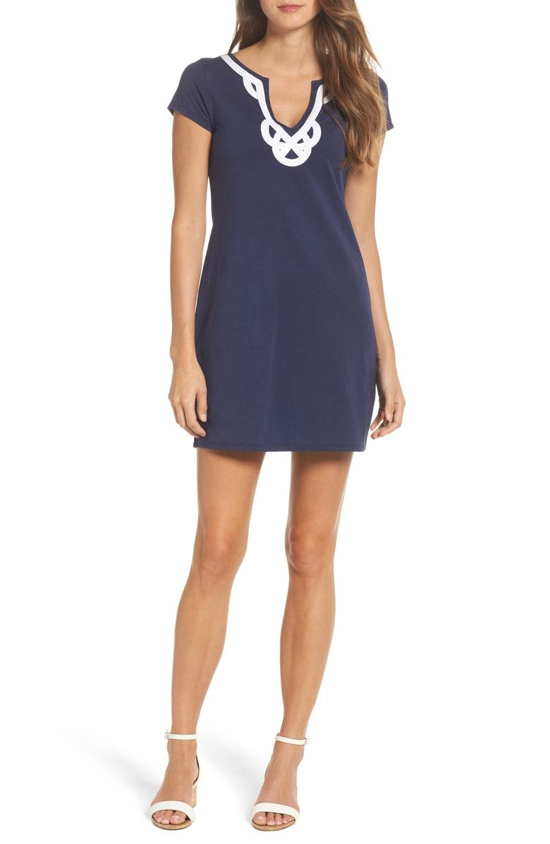 Brewsteru contrast trim tshirt dress main color true navy