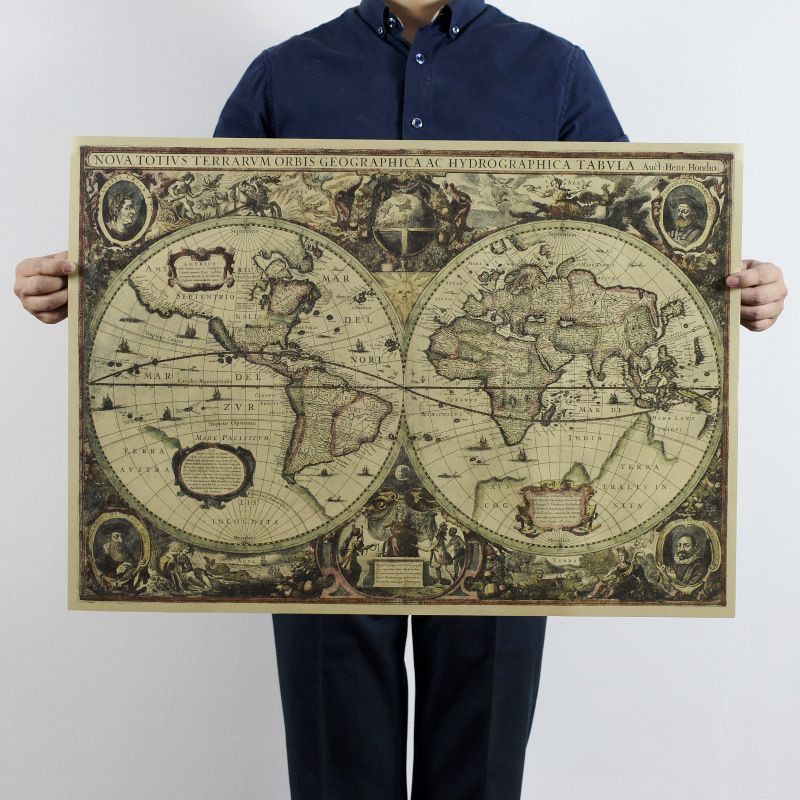 Vintage world map nautical ocean sea maps retro old paper poster cheap decoration world map buy quality kraft paper poster directly from china poster world suppliers vintage world map nautical ocean sea maps retro kraft gumiabroncs Image collections