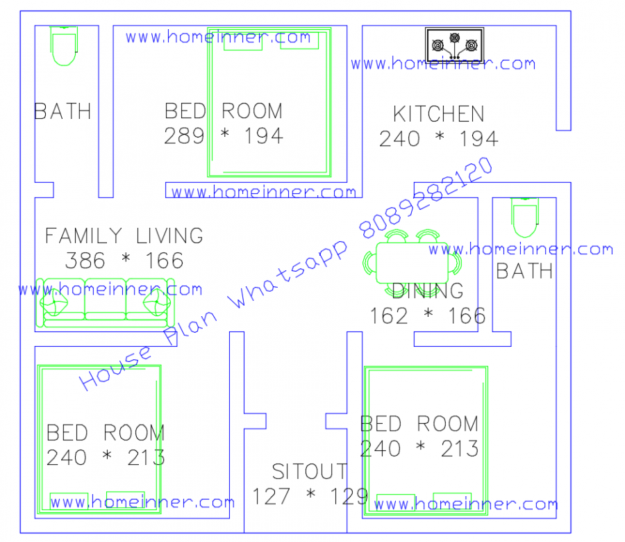 500 Sq Ft 3 Bhk Small Floor Plan Small Floor Plans Online Home Design House Plans