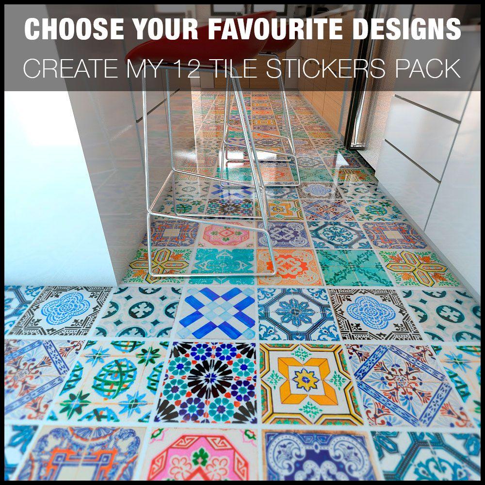 Create My 12 Tile Stickers Pack Bodenfliesen Fliesenaufkleber Fliesen