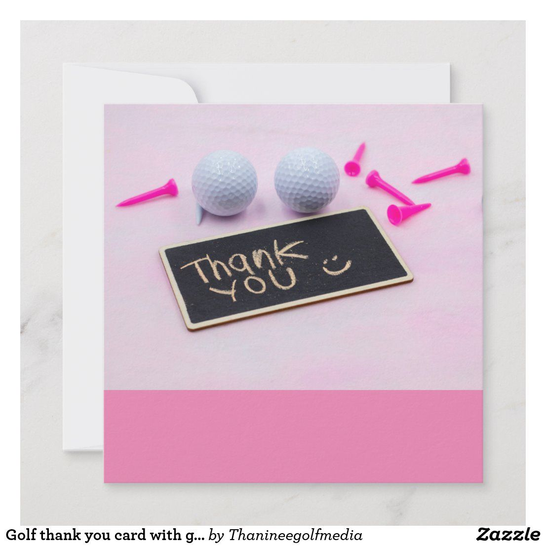 Golf Thank You Card With Golf Ball And Pink Tees Zazzle Com Cards Your Cards Congratulations Card