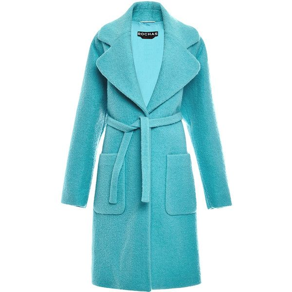Rochas Wool Boucle Coat (11.875 NOK) ❤ liked on Polyvore featuring outerwear, coats, coats & jackets, rochas, tie belt, woolen coat, wool boucle coat and blue wool coat