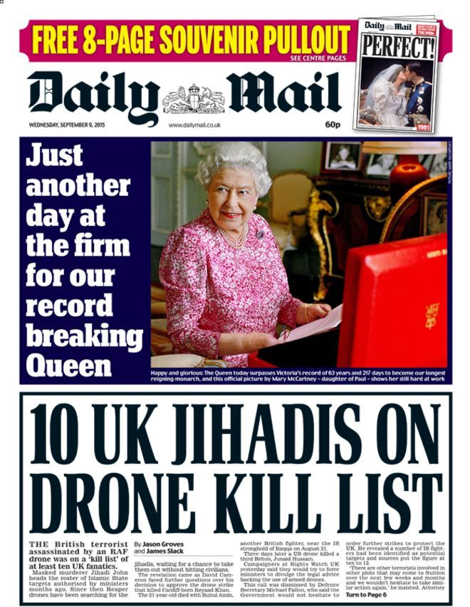 Drone hit list, Radcliffe's fury, and the longest reign