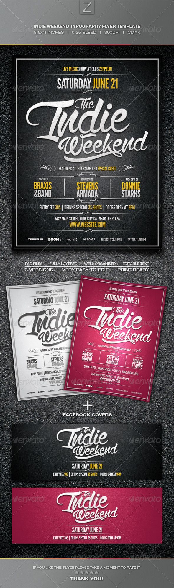 Indie Typography Flyer Template  Flyer Template Typography And