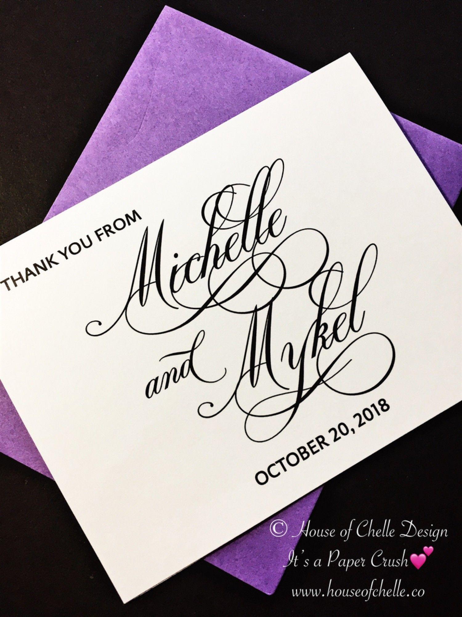 Wedding Thank You Cards, Wedding Thank You Notes, Folded