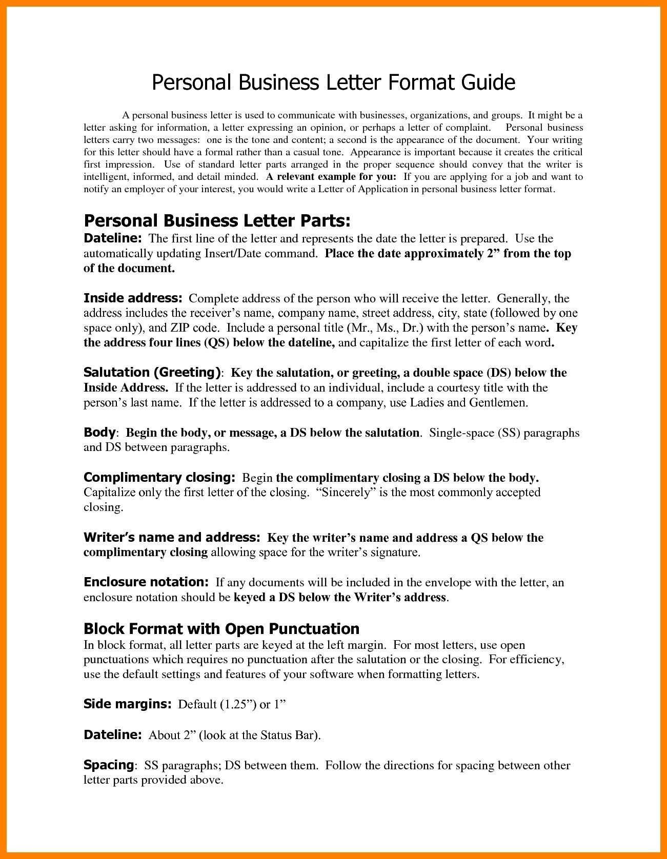 Valid Business Letter Format And Margins