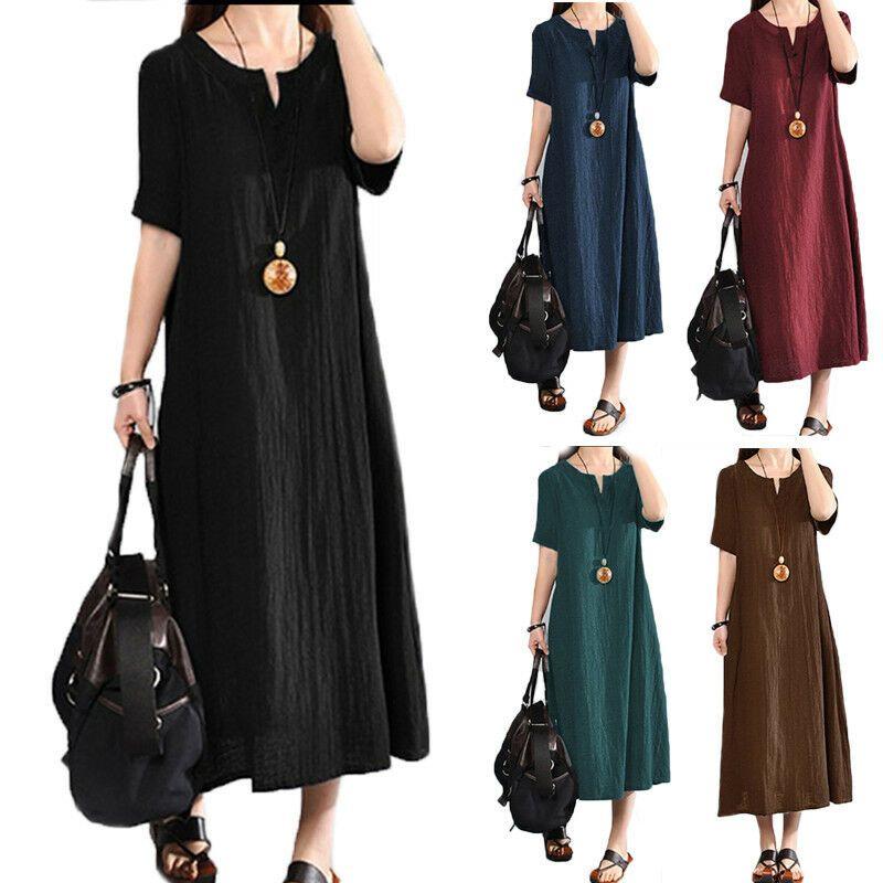 Photo of Women's Loose Baggy Linen Dress Kaftan Dress Vintage Leisure Maxi S