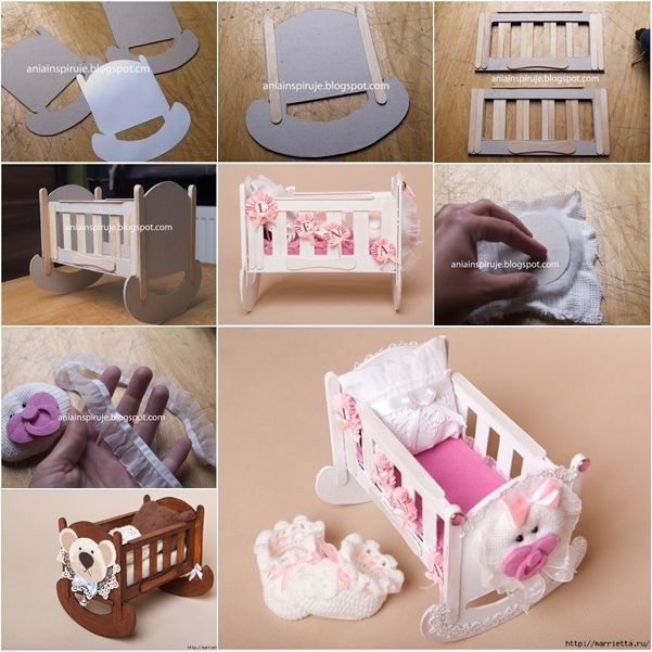 making doll furniture. how to make cute doll crib from cardboard and popsicle stick would be for a barbie or use babyshower making furniture