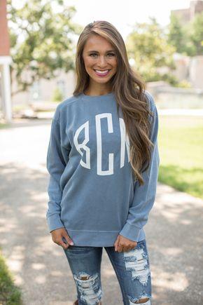 Comfort Colors Personalized Sweatshirt Jean Blue Sweatshirts