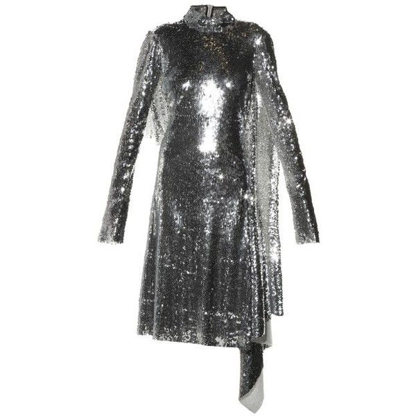 Vetements Open-back high-neck sequin dress ($9,130) ❤ liked on Polyvore featuring dresses, silver, silver dress, midi dress, silver sequin dress, long sleeve open back dress and silver long sleeve dress