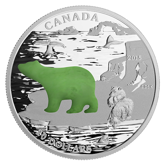 1 Oz Fine Silver Coin With Jade Insert A Canadian Icons Polar Bear A Mintage 8 500 2015 Silver Coins Canadian Coins Coins