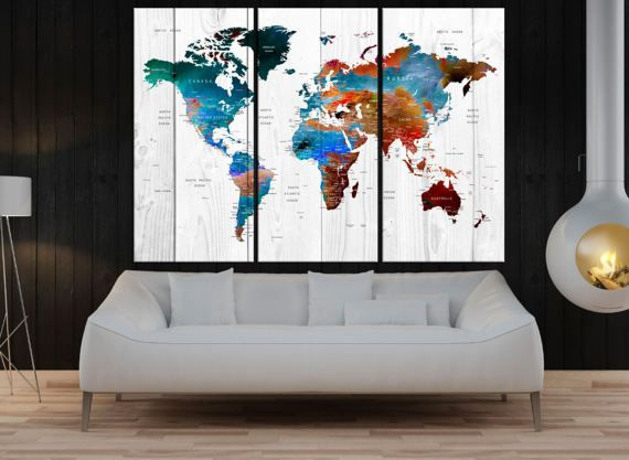 Canvas prints add a unique touch to your home. Modern, stylish and unique design will be the most special piece of your decor. Especially for those who like abstract works, black and white acrylic painting can be prepared in desired sizes  large wall art canvas Push Pin world map art print, modern wall art travel map art canvas, extra large wall art for livingroom decor No:9S68  ◆ GALLERY WRAPPED CANVASES We print high quality printer on canvas. 3 cm thick (depth) stretcher bars, side…