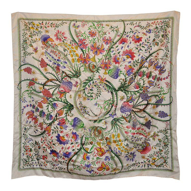 Gucci Signature Multi-Colors Silk Floral Print Scarf | From a collection of rare vintage scarves at https://www.1stdibs.com/fashion/accessories/scarves/