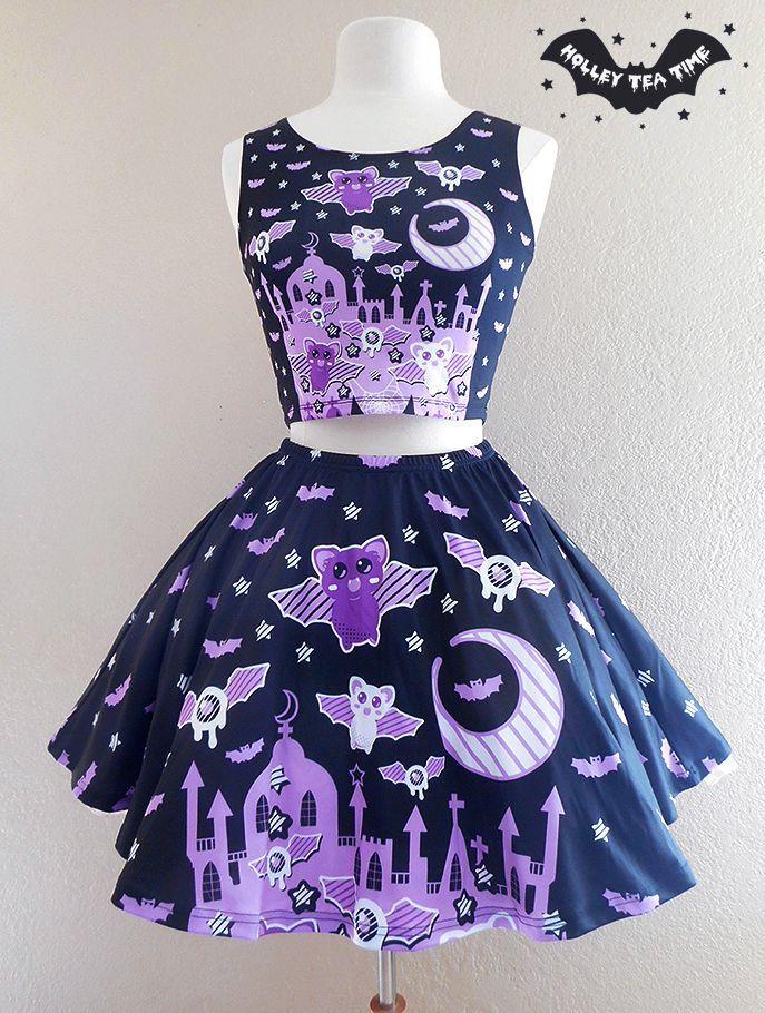 ☆ Spooky Bats ☆ Skater Skirt ☆ Made To Order ✧ Creepy cute, Kawaii, Pastel Goth, Harajuku Fashion, Halloween, Stripes from Holley Tea Time